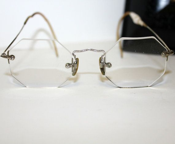 2897d14b7f4 Vintage Rimless Eyeglasses Octagon Silver Tone Small Size