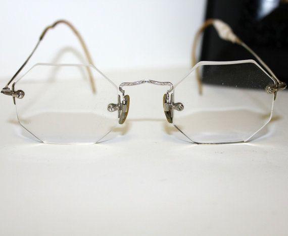 Vintage Rimless Eyeglasses Octagon Silver Tone Small Size