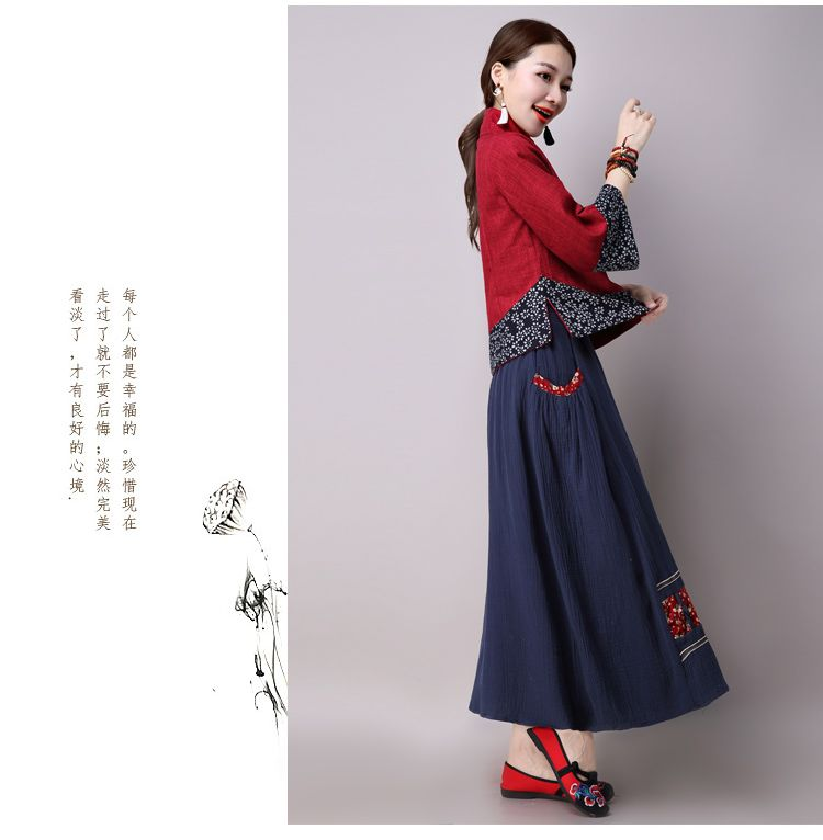 f17f8c36a0 Spring And Autumn New Style MIMZF Vintage Frog Chinese Costume Tops Cotton  Linen Loose Embroidery Short Coat Female Improved Cheongsam