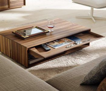 Modern Low Profile Coffee Table With Pull Out Narrow Drawer To Hide All The Remotes