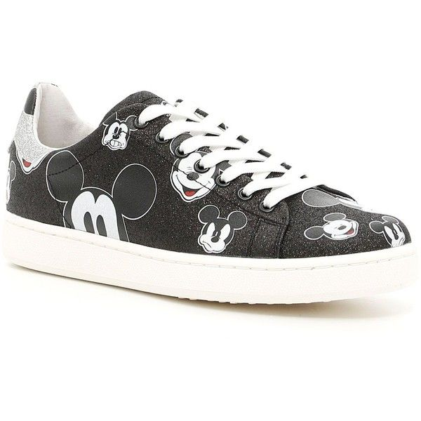 Disney Glitter Mickey Mouse Sneakers (€100) ❤ liked on Polyvore featuring shoes, sneakers, womenshoessneakers, rubber sole shoes, patterned shoes, shiny shoes, glitter shoes and polish shoes