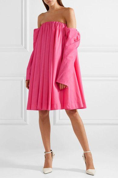 Off-the-shoulder Gathered Taffeta Dress - Fuchsia CALVIN KLEIN 205W39NYC a1wWyum