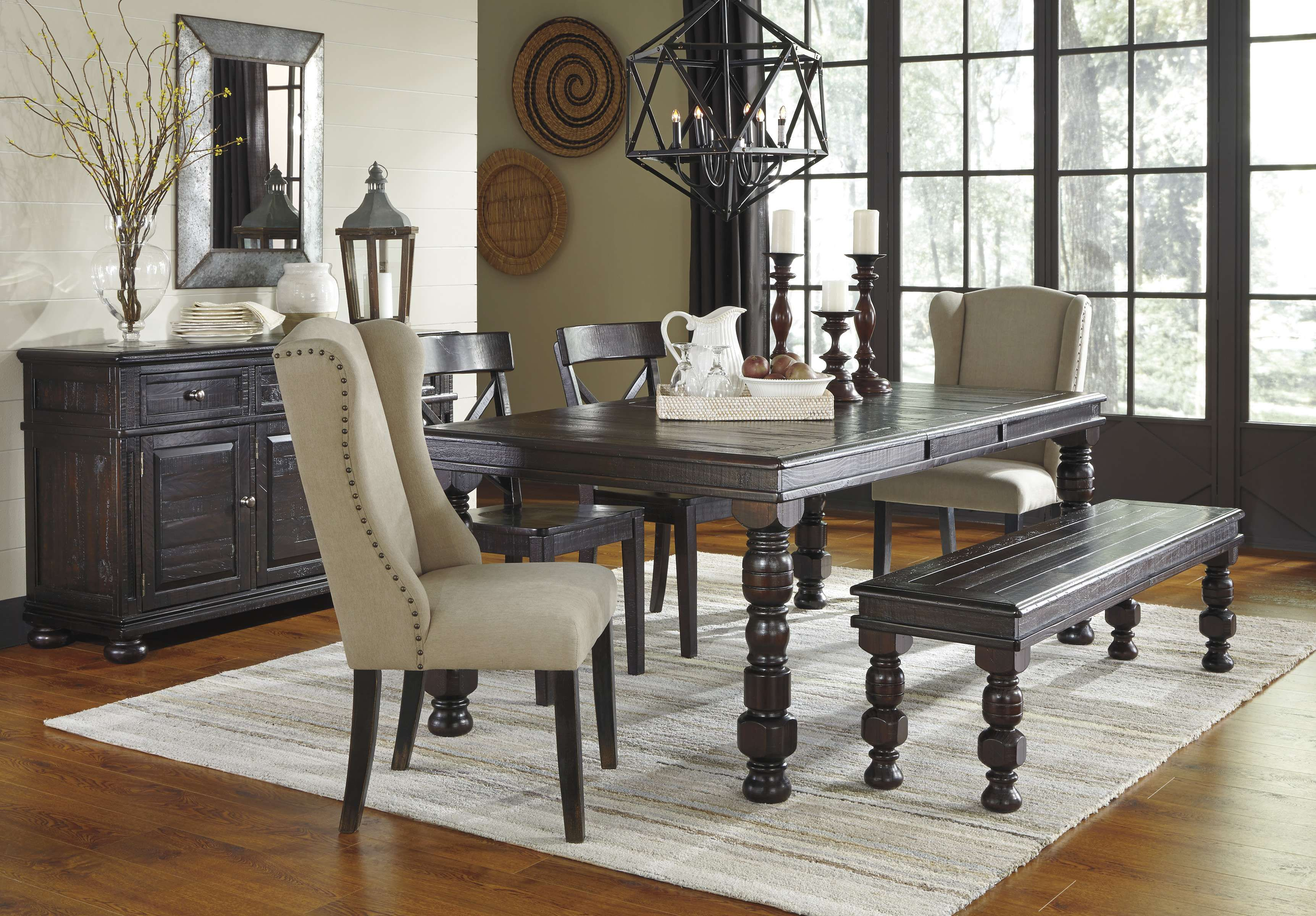 Lowest Price On Signature Design By Ashley Gerlane Dark Brown 7 Piece Rectangle Dining Room Extensi Casual Dining Rooms Farmhouse Dining Room Brown Dining Room