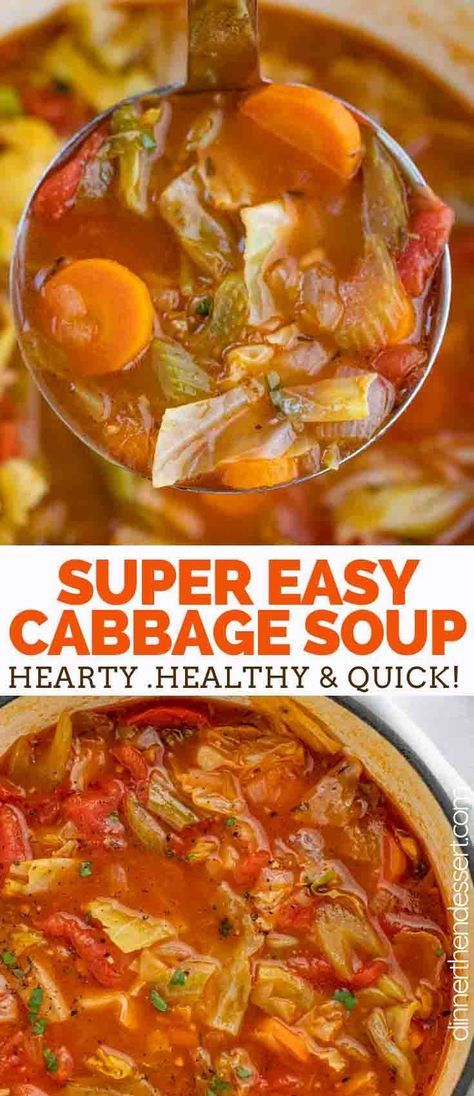 Cabbage Soup is the PERFECT savory vegetable soup made with cabbage, tomato, carrots, celery, and spices, ready in under 45 minutes! #soup #stew #vegetarian #cabbage #vegetarian #lowcarb #simple #vegetable #dinnerthendessert