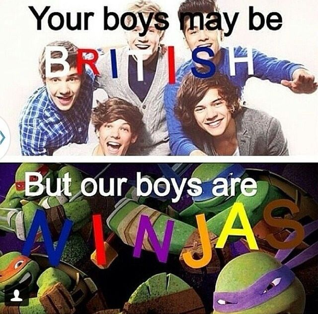 YOUR BOYS ARE BRITISH, MINE ARE NINJA TURTLES AND GIANT TRANSFORMING ROBOTS!