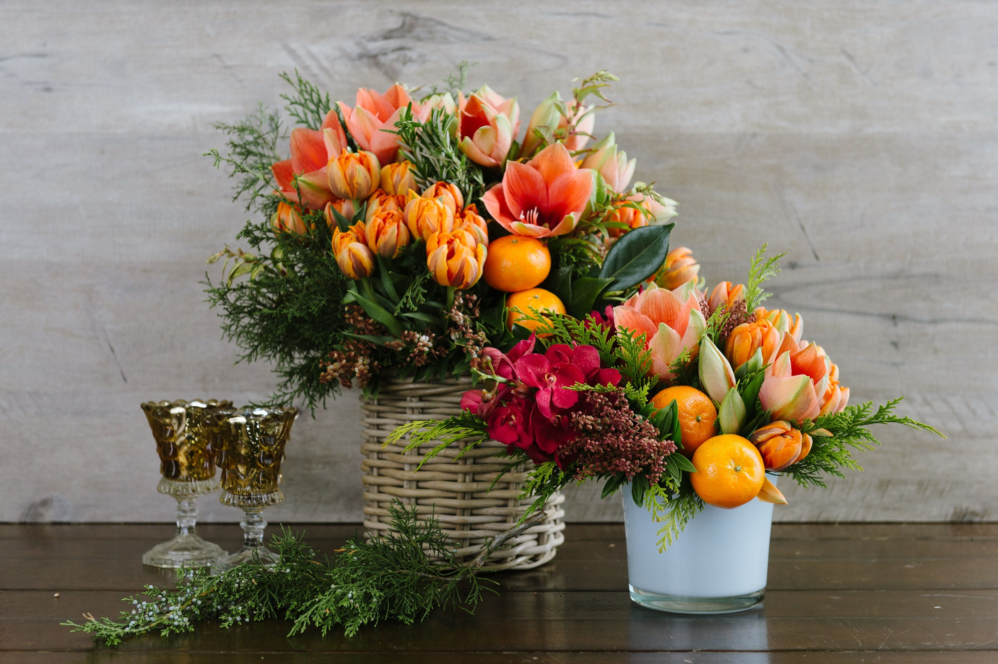 A Grouping Of Fresh Clementines Crown A Design Filled With Amaryllis Citrus Luxe By Winston Flowers Winston Flowers Same Day Flower Delivery Flower Delivery