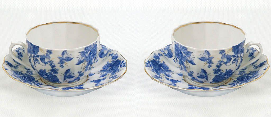 Чай вдвоем Францъ Гарднеръ Ампир Астра голубая, 4 предмета - Классика фарфора