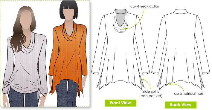 casual new dropped hem top with semi cowl neck - Amy top - Style Arc