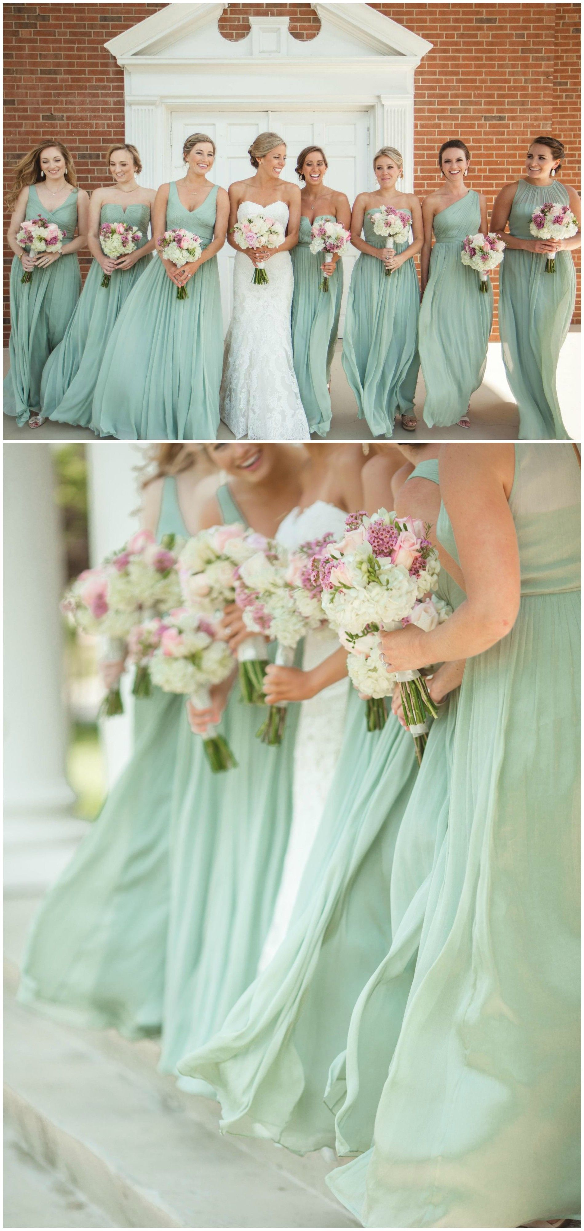 0401b6652435 Southern bridal party, pastel green bridesmaid dresses, chiffon gowns, pink  and white floral wedding bouquets, repin to your own inspiration board //  Clint ...