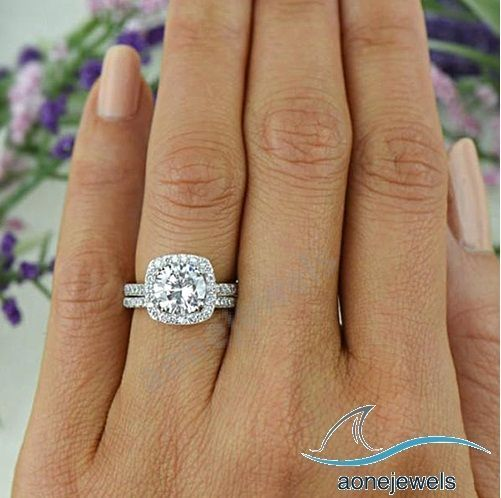 Classic Square Halo Style Round Diamond Bridal Ring Set Womens Size