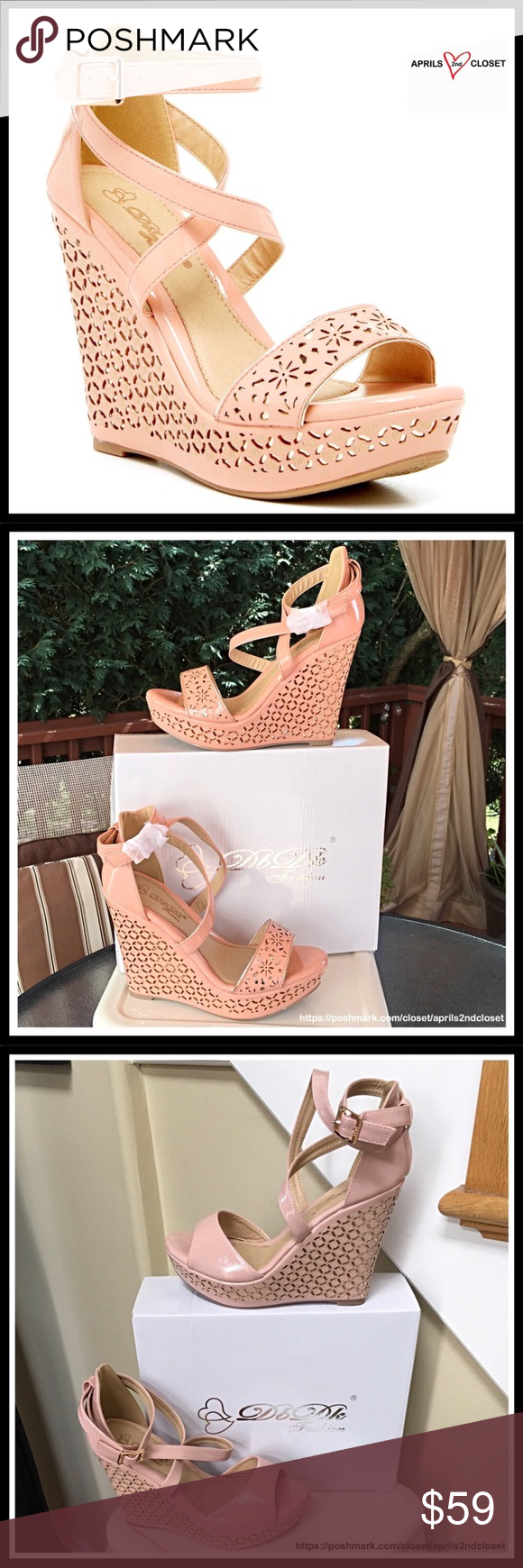 b4a0f49883b7 BLUSH ANKLE STRAP ESPADRILLE WEDGE SANDALS ELEGANT BLUSH ANKLE STRAP  ESPADRILLE WEDGE SANDALS NEW IN BOX