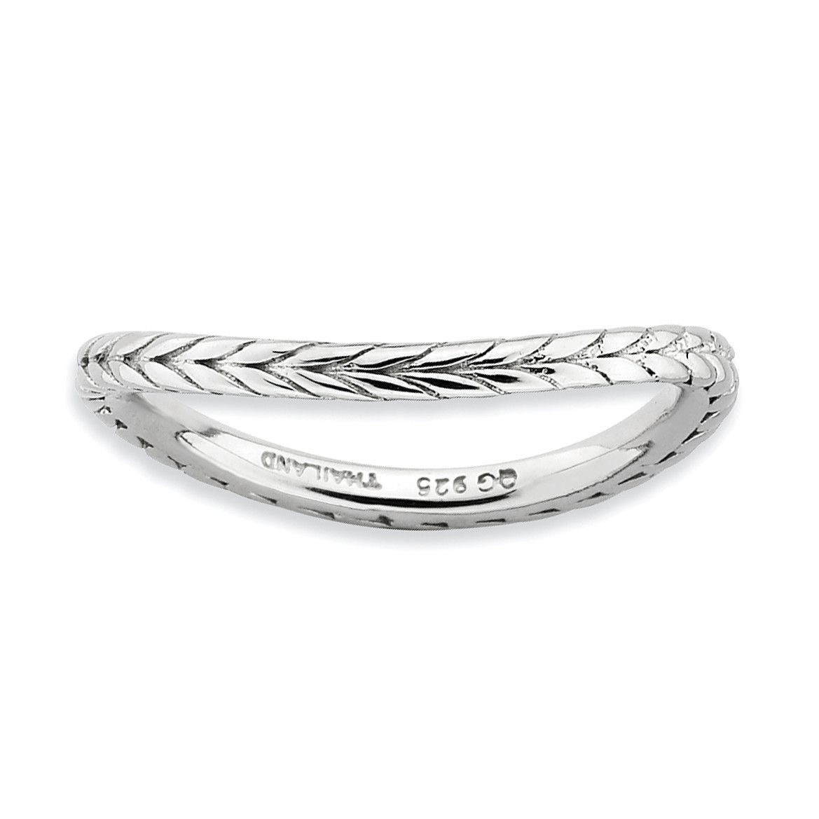 Sterling Silver Stackable Expressions Polished Rhodium-plate Wave Ring QSK672