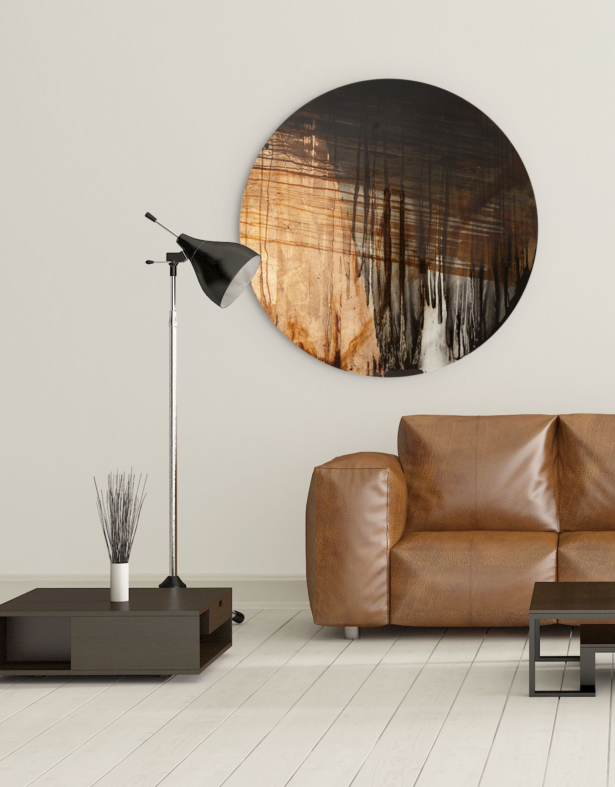 Large Circular Canvas Wall Art With Copper Tones An Original Design From Our Collection Of Contemporary See Full On