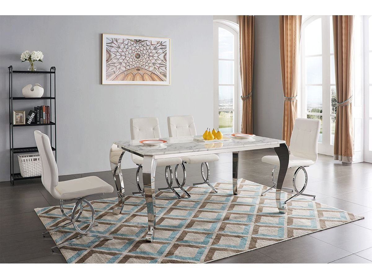 Modern Contemporary White Silver Dining Collection Marble Top