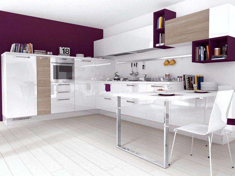 Lackierte Einbauküche aus Holz mit Griffe NOEMI | Küche ...