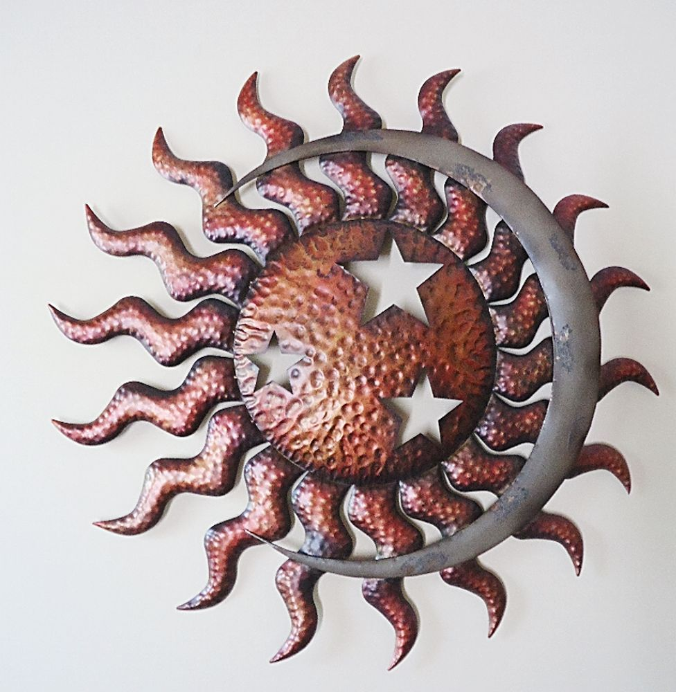 Celestial sun moon u stars wall art large metal indoor outdoor