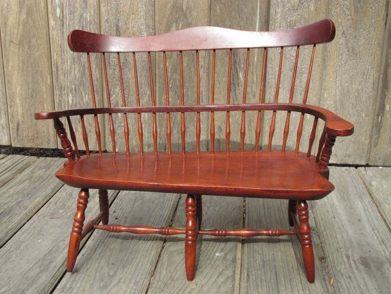 Windsor Doll Bench Wooden Toy Early Colonial Spindle By