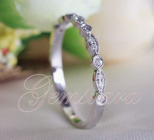 Art Deco14K White Gold Half Eternity Diamond Ring Engagement Wedding Ring