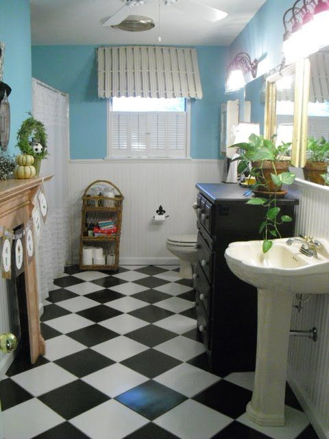 Black and White tile bathroom floor | White tile bathroom ...