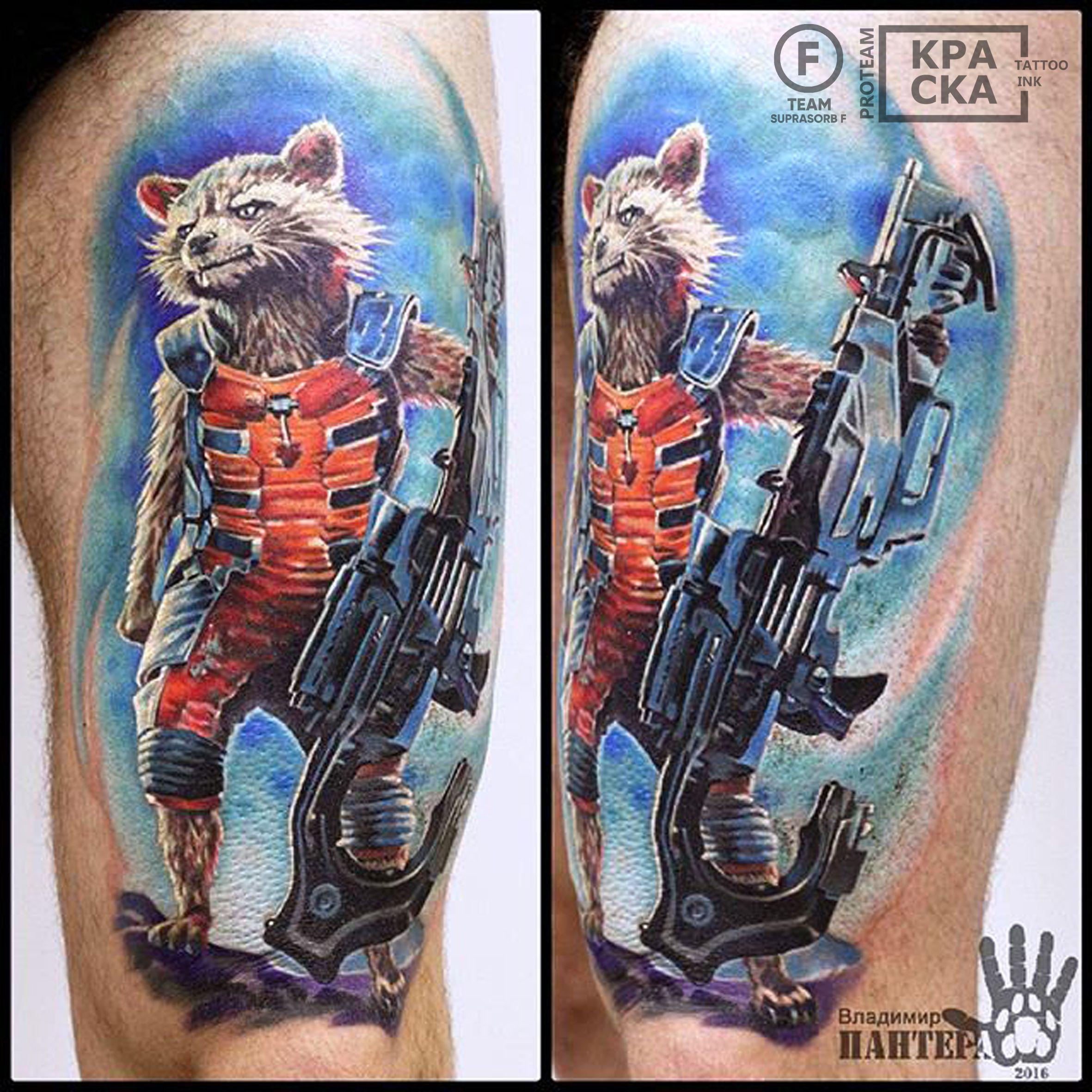 тату енот ракета марвел татуировка стражи галактики мои тату