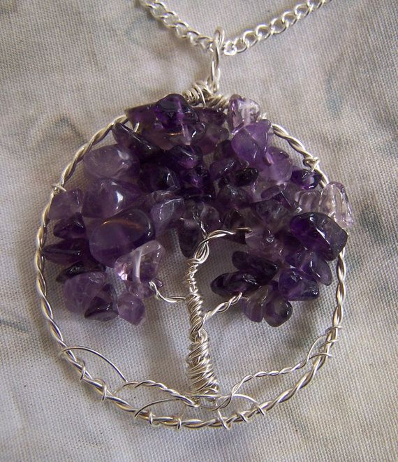 66830bf8f942 Amethyst Tree of Life necklace pendant + chain - Sterling Silver ...
