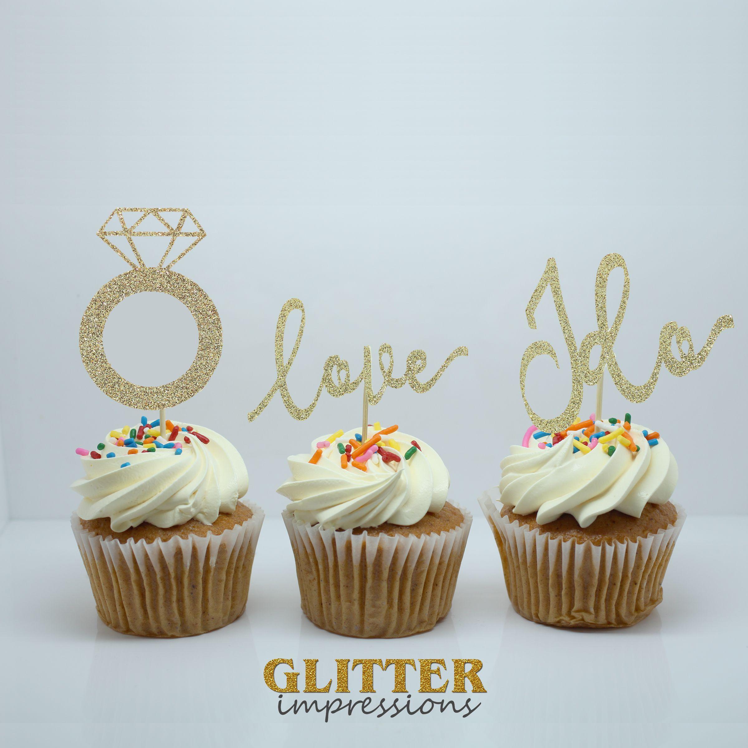 Wedding Cupcake Topper Glitter Cupcake Topper Wedding Party