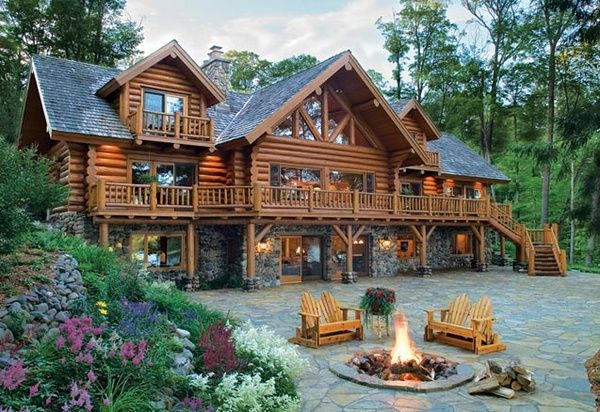 isolation and rustic nature of log cabins.  This one is amazing!! dream-houses