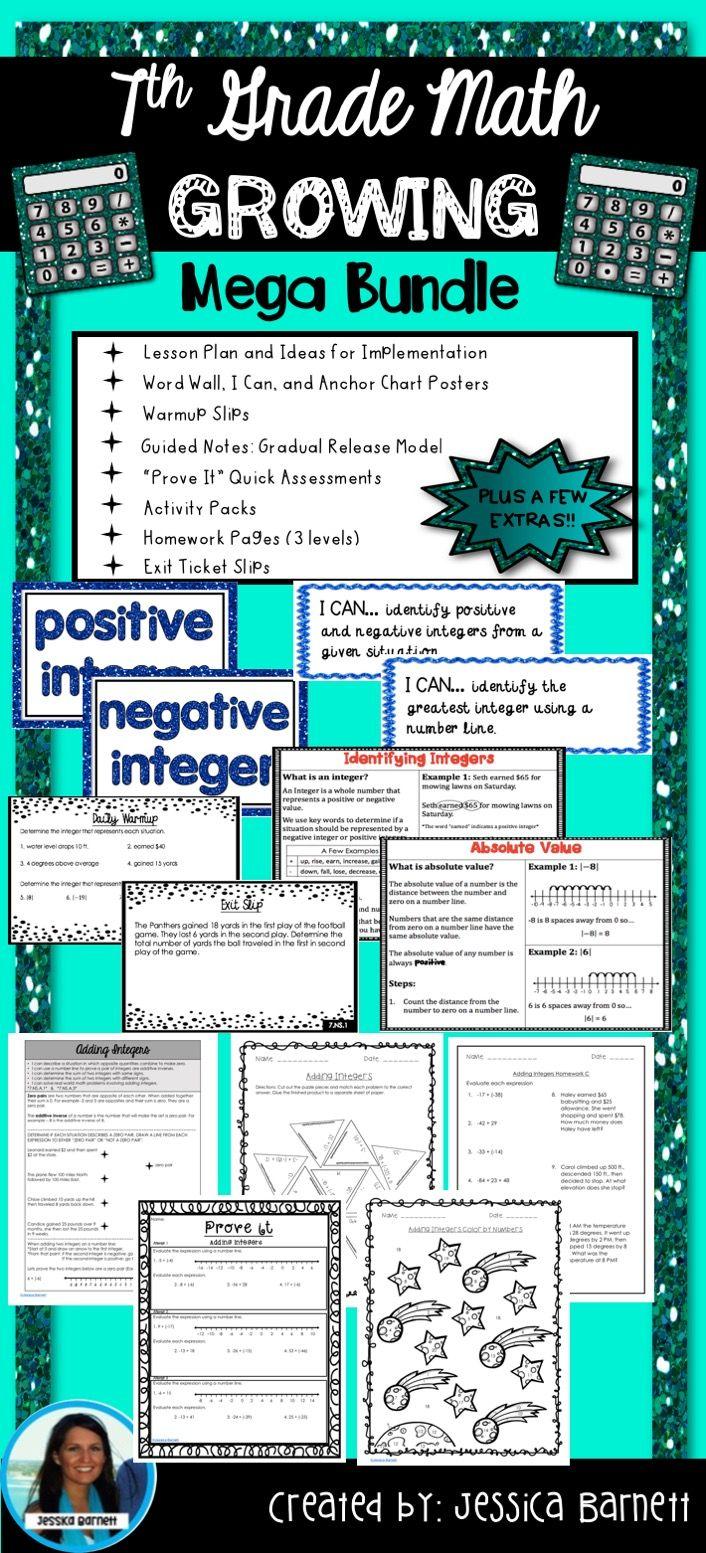 7th Grade Math Bundle | Anchor charts, Homework and Math