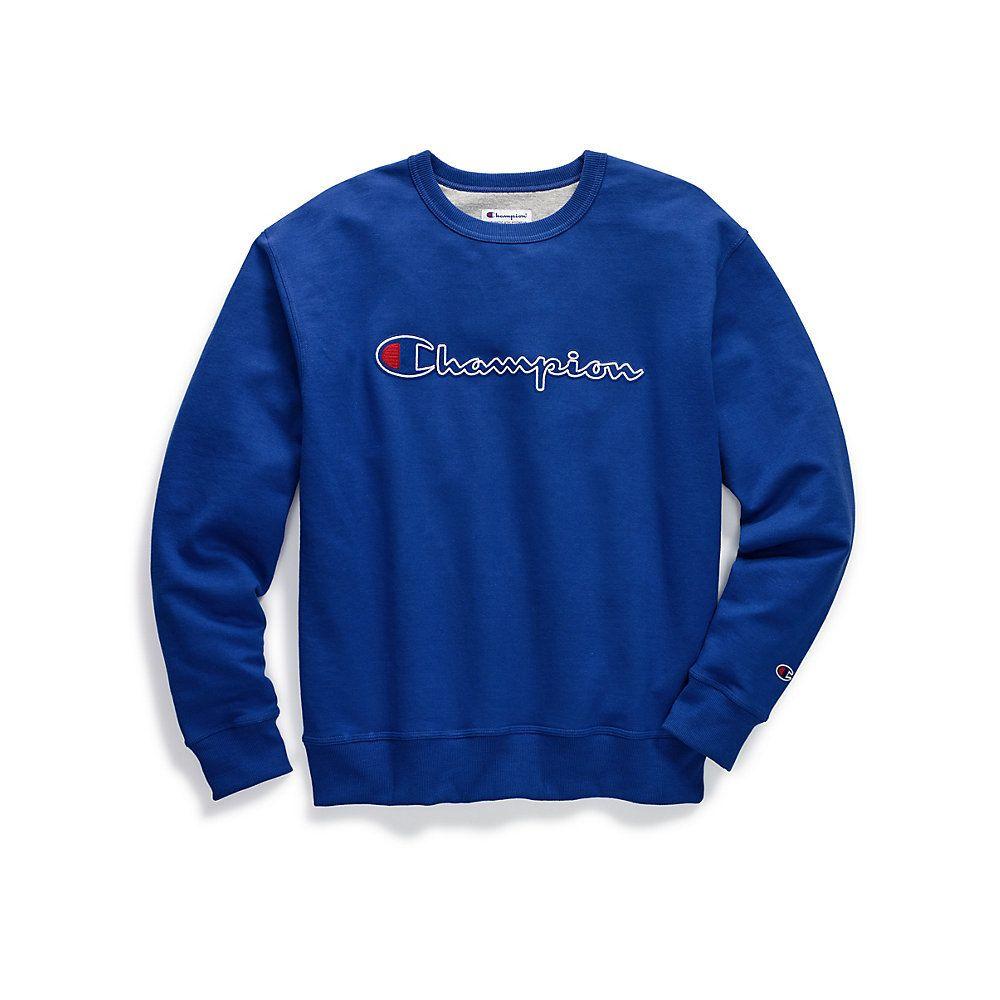 Champion Men S Powerblend Fleece Crewneck Sweatshirt Felt Script Logo With Chainstitch Gf88h Y07416 Script Logo Mens Big And Tall Crew Neck Sweatshirt [ 1000 x 1000 Pixel ]