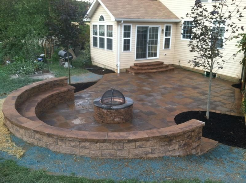 Paver Patio Sitting Wall And Firepit Lake House