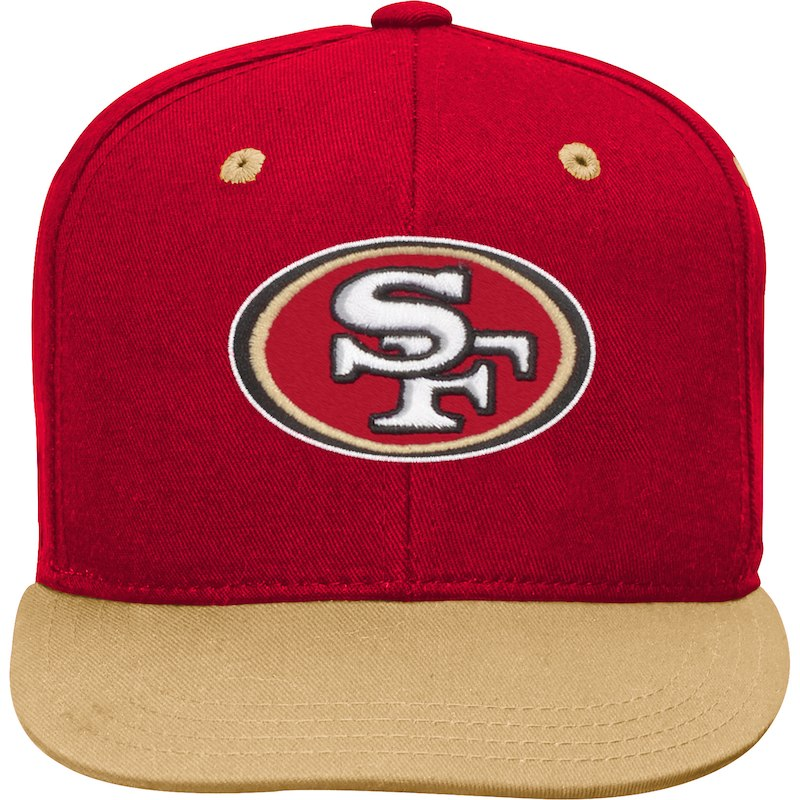 San Francisco 49ers Youth Two-Tone Flatbrim Snapback Adjustable Hat –  Scarlet Gold e8849fc62