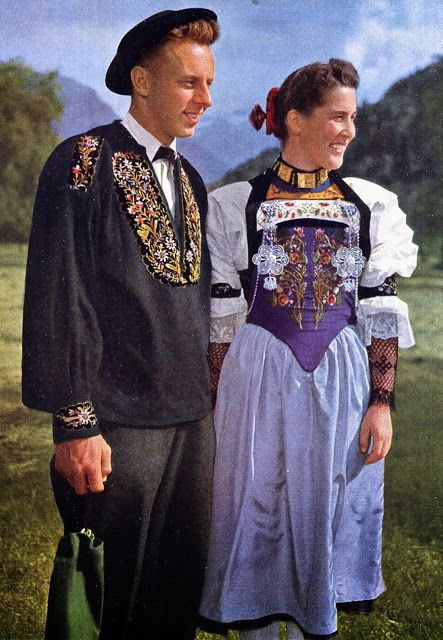 FolkCostume&Embroidery: Overview of Swiss Costume   Traditional outfits,  Traditional dresses, Swiss clothing
