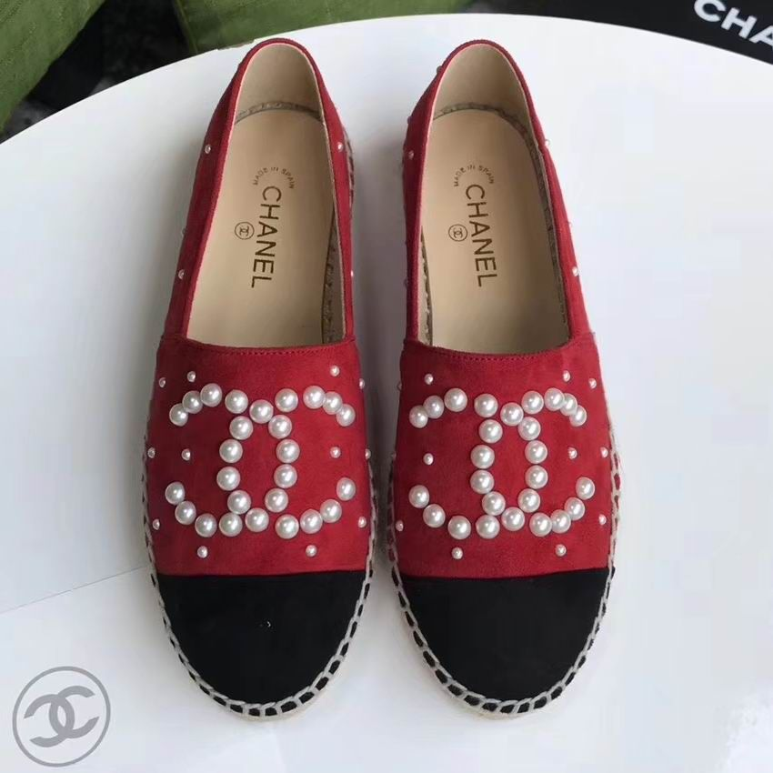 2f0dc31dc Chanel Espadrilles Suede Pearl Embellished Cc Cap-toe Flats Red Black