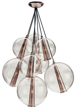 Gilded Age: Hued in rose gold, perforated metallic cylinders lend an edge to a cascading cluster of delicate glass spheres from the Laura Kirar Collection for Arteriors ($4,725).