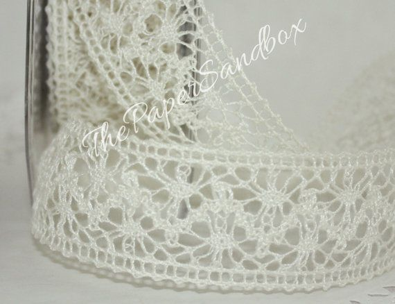 "Ivory Crochet Lace Ribbon 1.5"" wide by the yard - Weddings, Crafts, Decor, DIY, Sewing, Gift Wrap, Trim"
