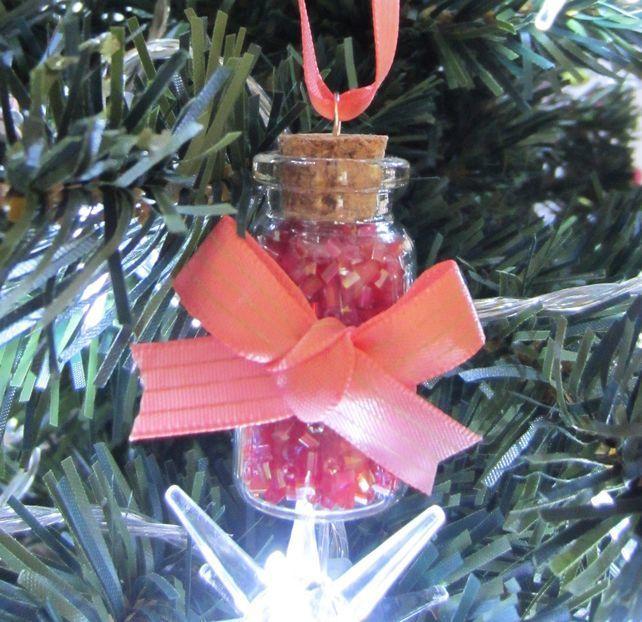 Tiny Glass Bottle Christmas Decoration - Pink