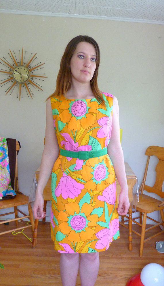 Beautiful Vintage Floral Shift Dress Tangerine Dreams Mad Men