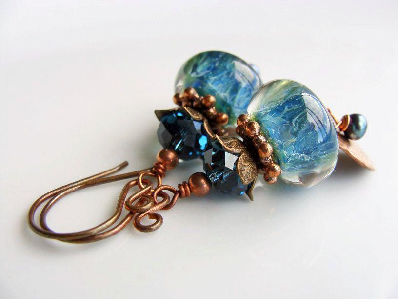 Boro Lampwork Earrings, Blue Earrings, Lampwork Glass, Teal, Wire Wrapped, Copper, Brass. $26.00, via Etsy.