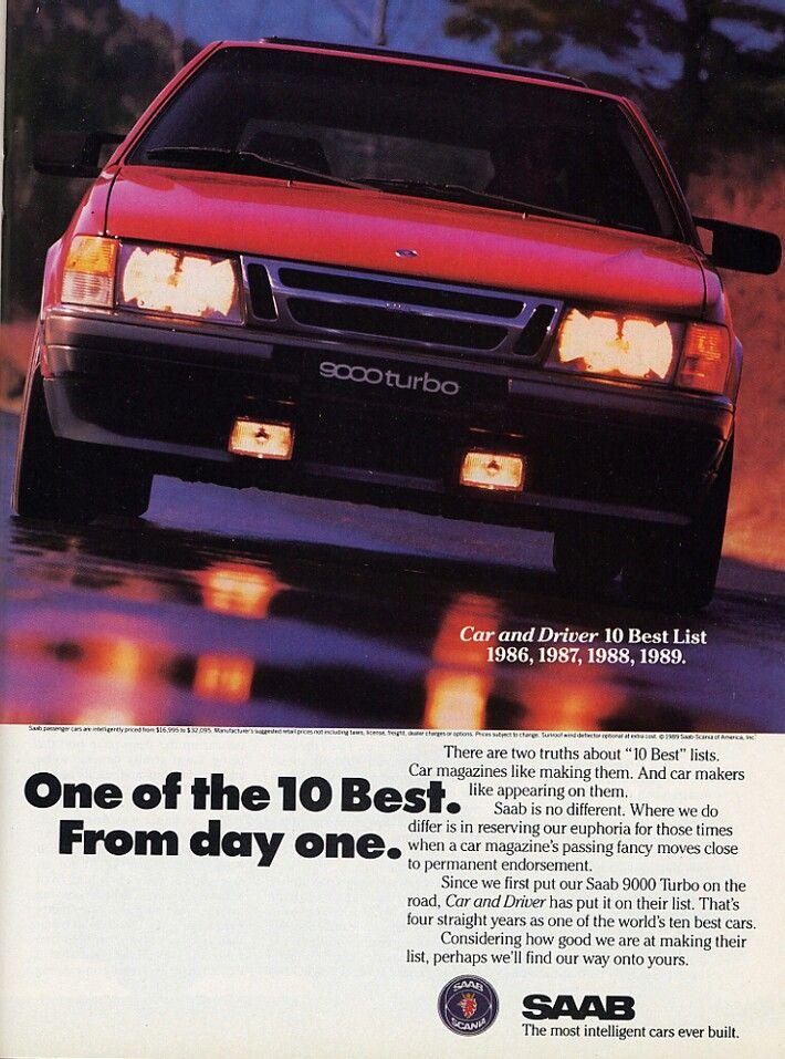 Car & Drivers 10 Best List The Saab 9000 | Vintage car ads ...