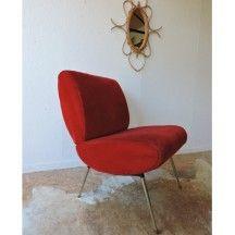 Fauteuil chauffeuse Pelfran rouge des années 60 vintage d'occasion #fauteuil #chauffeuse #Pelfran #rouge #confort #60 #vintage #occasion #design