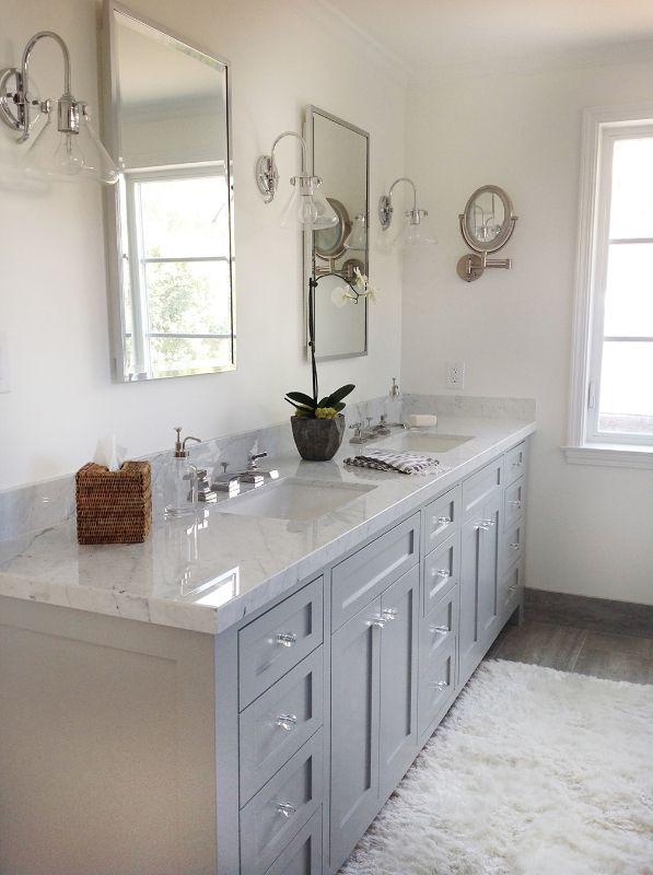 Carrara marble bathroom and porcelain wood plank floor ...