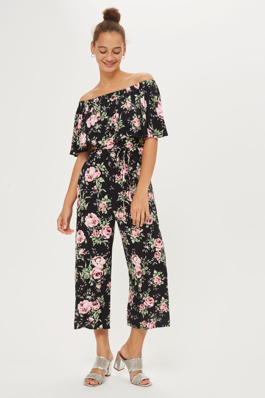c852b2af4d Rose Print Bardot Jumpsuit