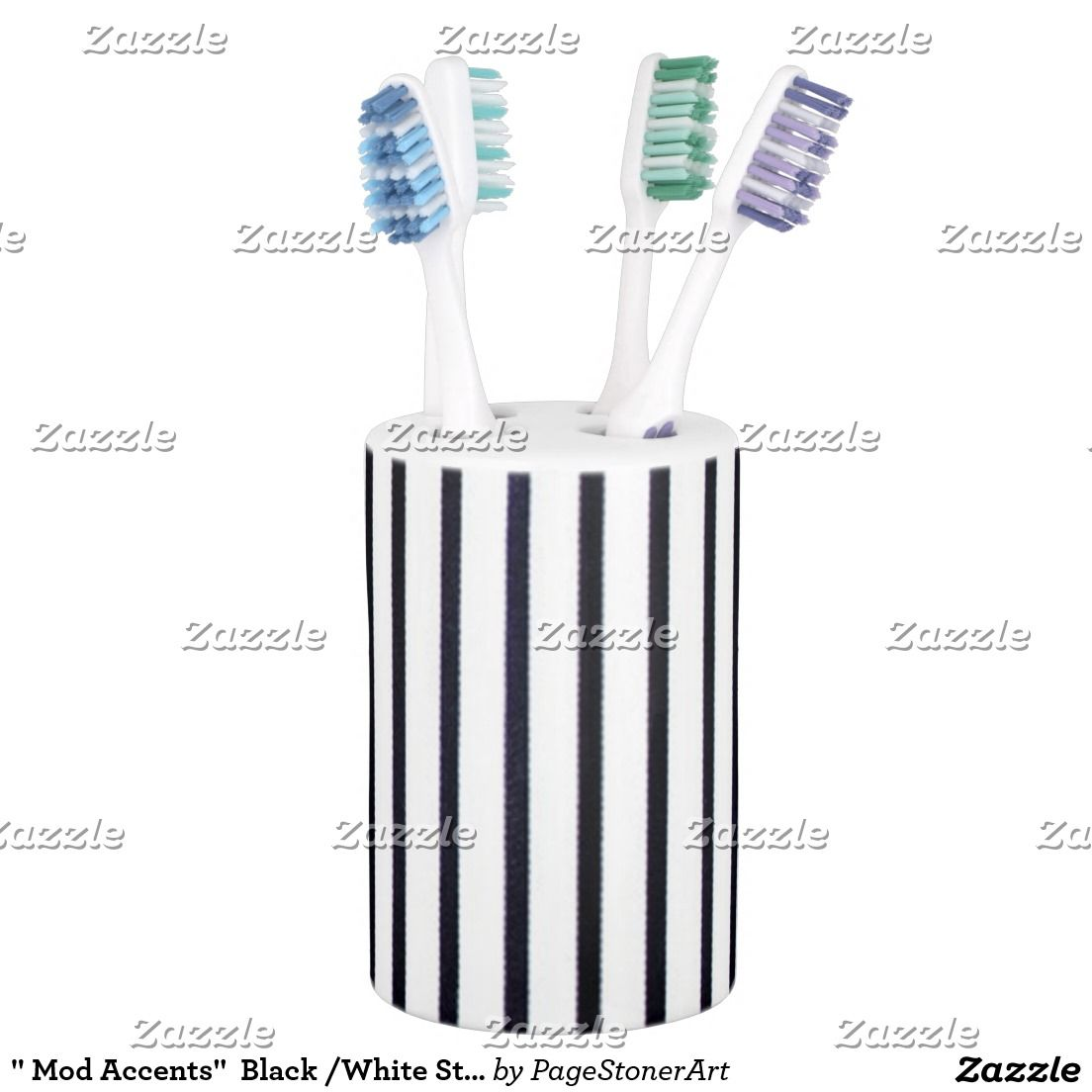 """ Mod Accents""  Black /White Stripes_Bathroom Soap Dispenser And Toothbrush Holder"