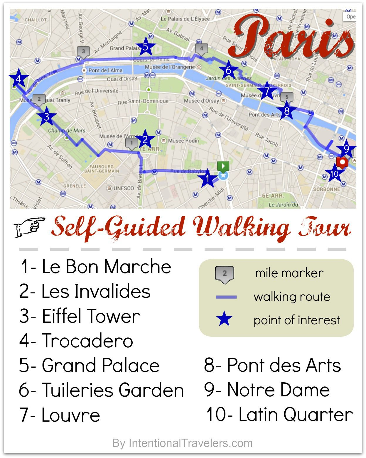a free self guided walking tour map for paris france intentional travelers