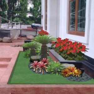 25 contoh taman depan rumah minimalis lahan sempit   taman
