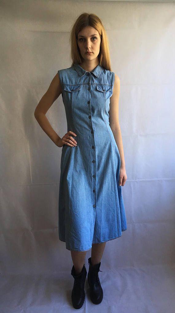 Vintage-Denim Midi Runde Kleid | Kleider, Jeans kleid