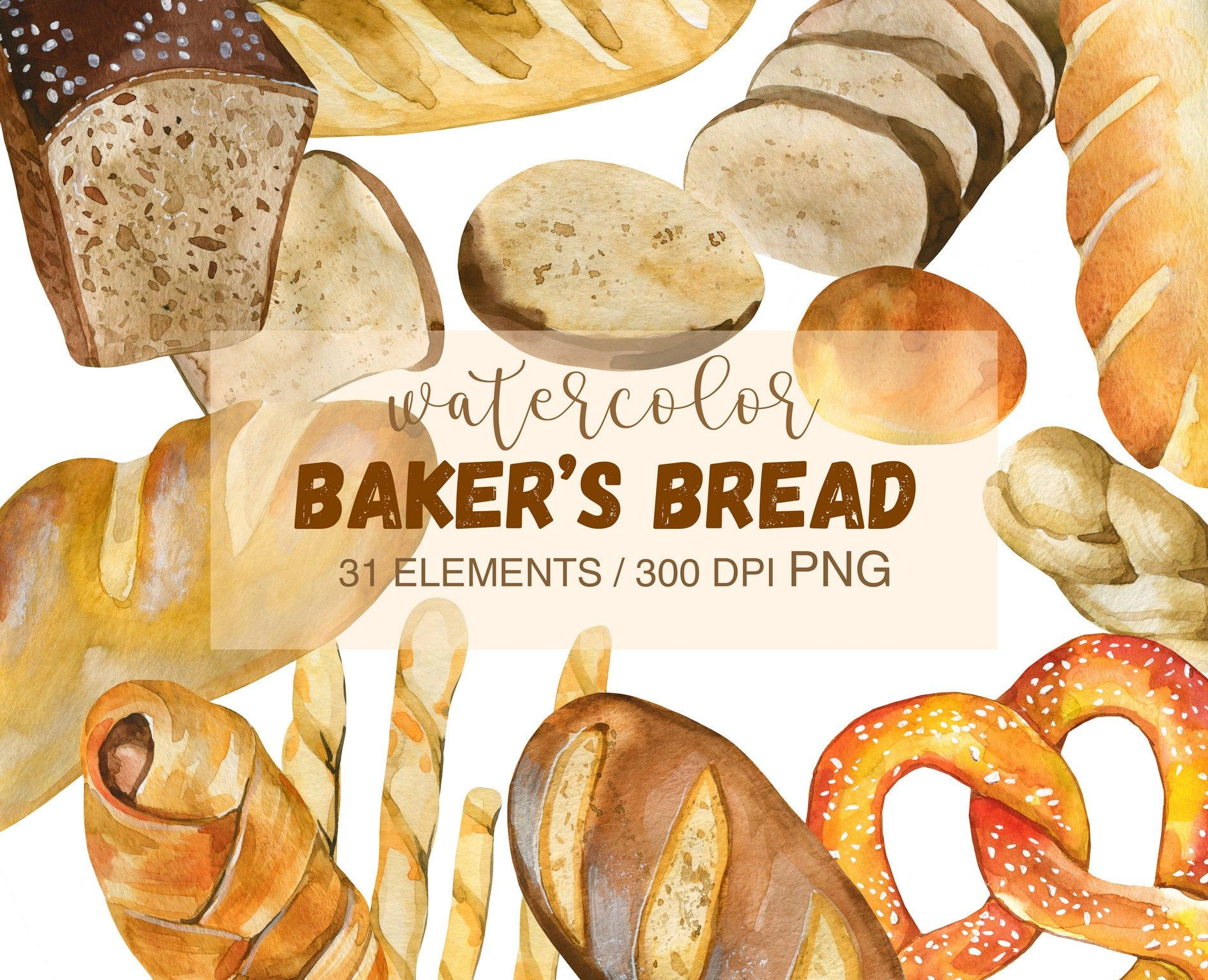 Watercolor Bread Clipart Png Watercolor Bakery Png Bread Etsy In 2021 Food Illustrations Clip Art Bread Rolls