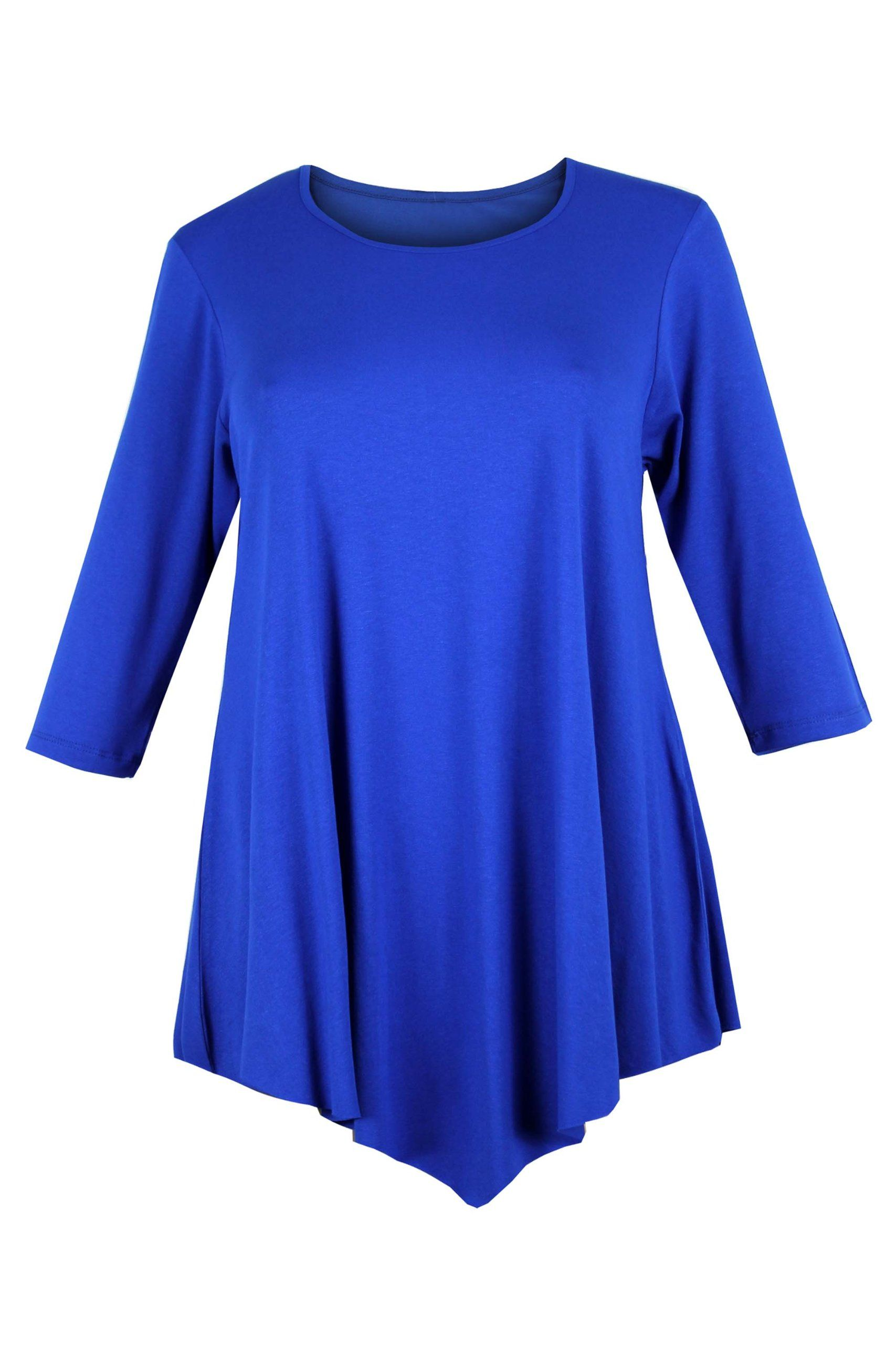 3ca9c339a2e Curvylicious Women s Plus Size 3 4 Sleeve Round Neck Tunic Top Blue ...