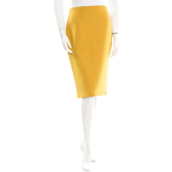 The Row Wool Pencil Skirt (€125) ❤ liked on Polyvore featuring skirts, yellow, yellow skirt, yellow pencil skirt, white skirt, pencil skirt and white wool skirt