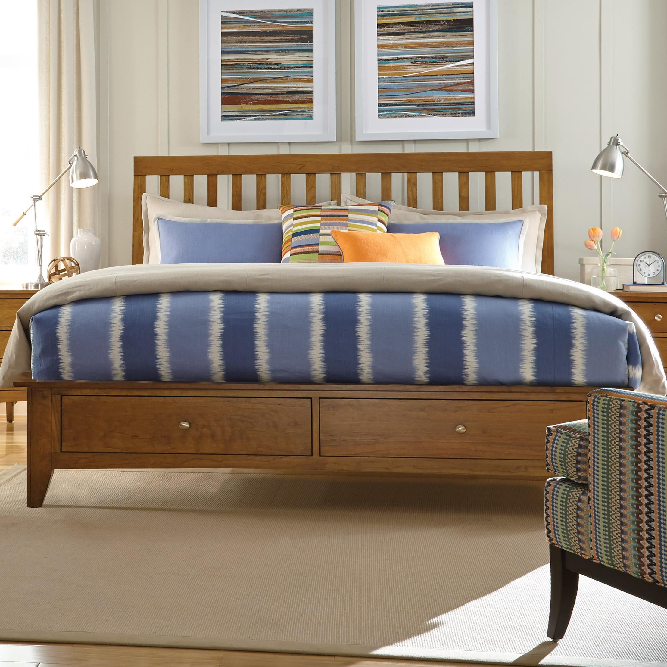 Gatherings king slat bed with storage footboard by kincaid furniture
